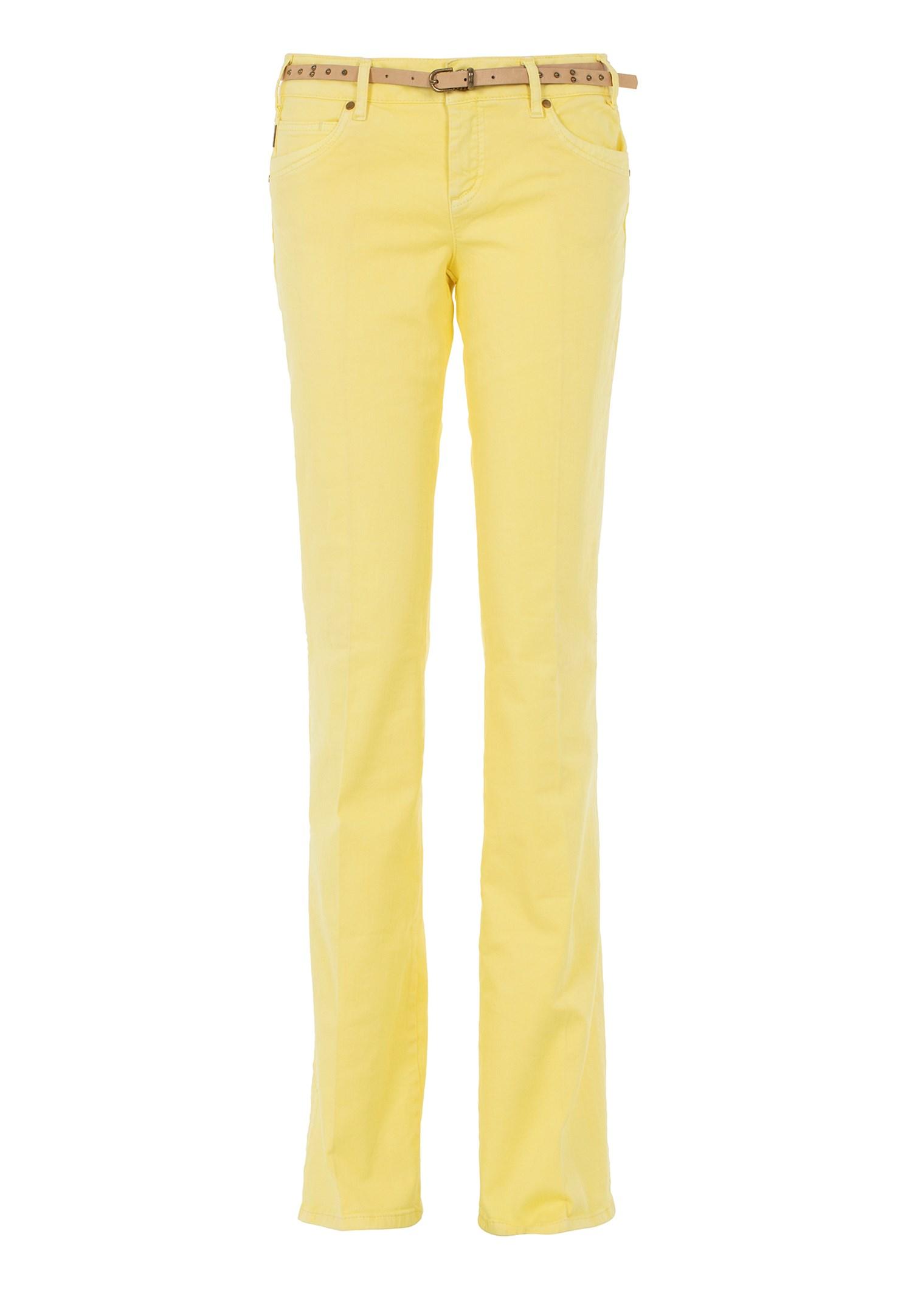 Bayan Sarı Düşük Bel Bol Paça Pantolon