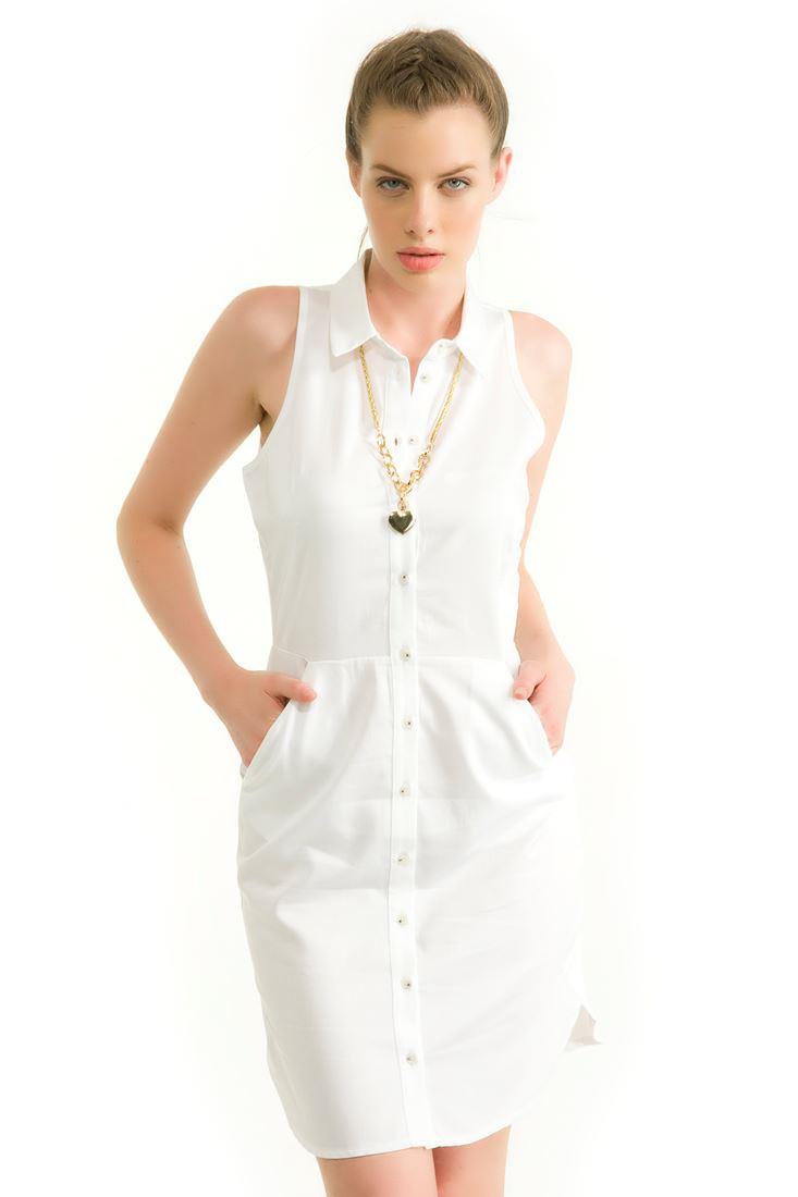 Beyaz Cepli Kolsuz Dizüstü Elbise