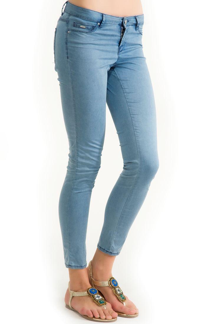 Mavi Yazlık İnce Denim Görünümlü Pantolon