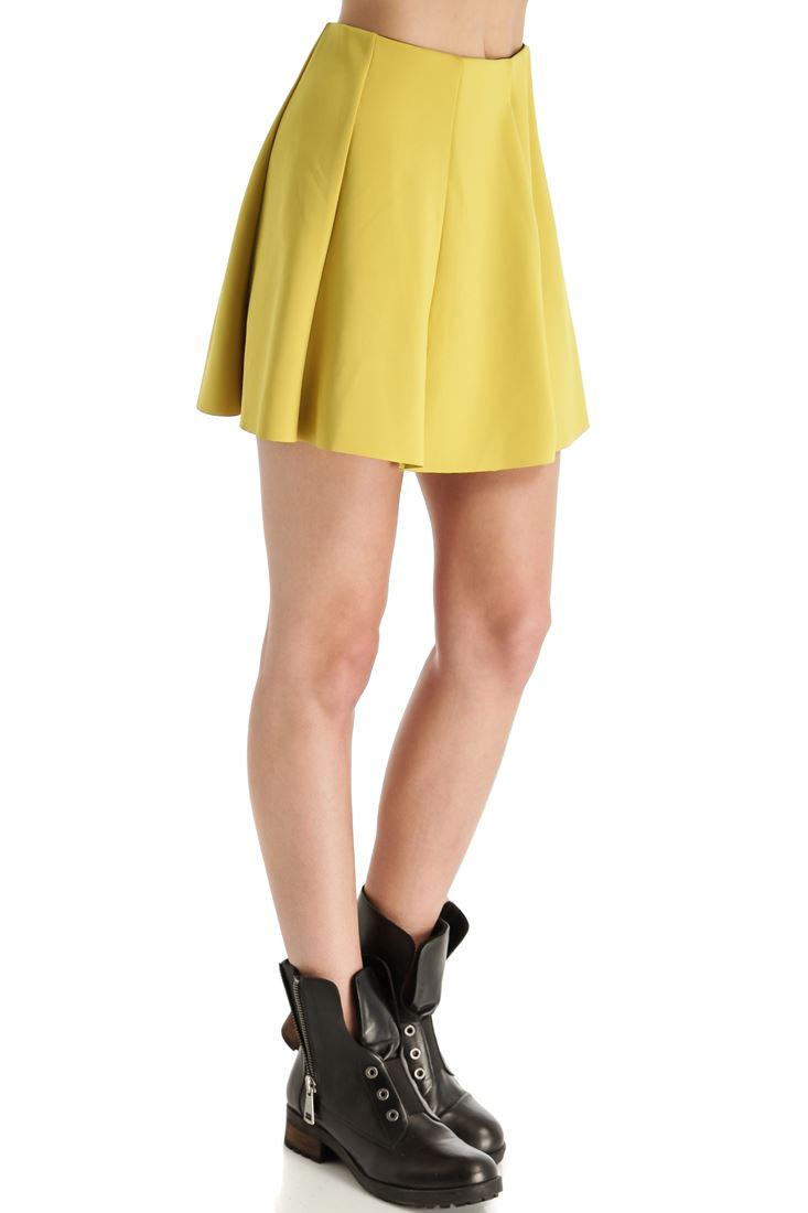 Sarı Volanlı Mini Etek
