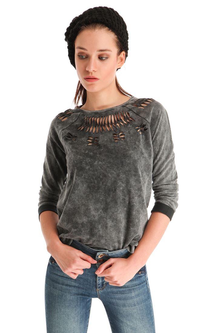 Siyah Asit Yıkamalı Sweatshirt