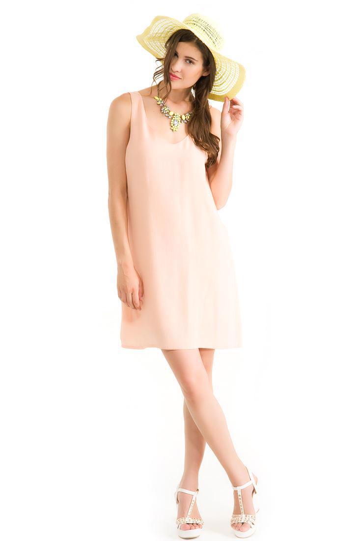 Bayan Turuncu Kolsuz Elbise