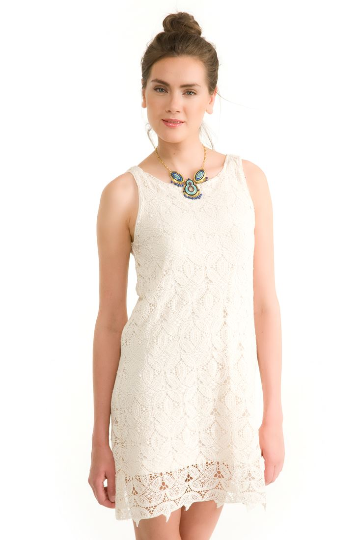 Krem Dantelli Beyaz Elbise