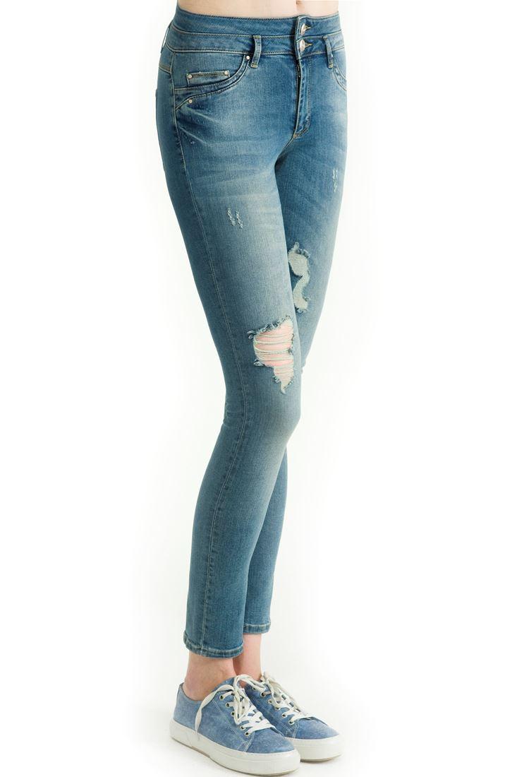 Mavi Yüksek Bel Dar Paça Eskitmeli Denim Pantolon