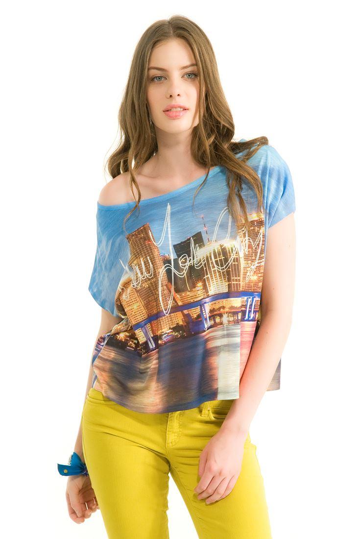 Çok Renkli Dijital Baskılı Kısa Kollu Tişört