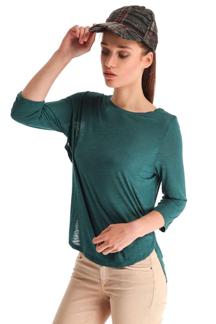 Mavi Geniş Yakalı Yırtmaçlı Tişört
