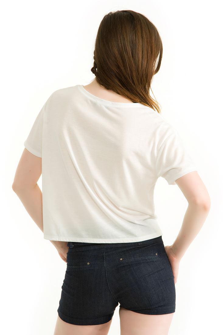 Bayan Krem Baskılı Kısa Tişört