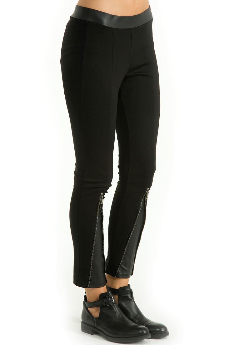 Siyah Paçaları Fermuarlı Dar Kesim Pantolon