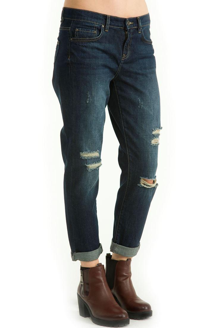 Mavi Paçası Kıvrık Taşlanmış Bol Kesim Pantolon