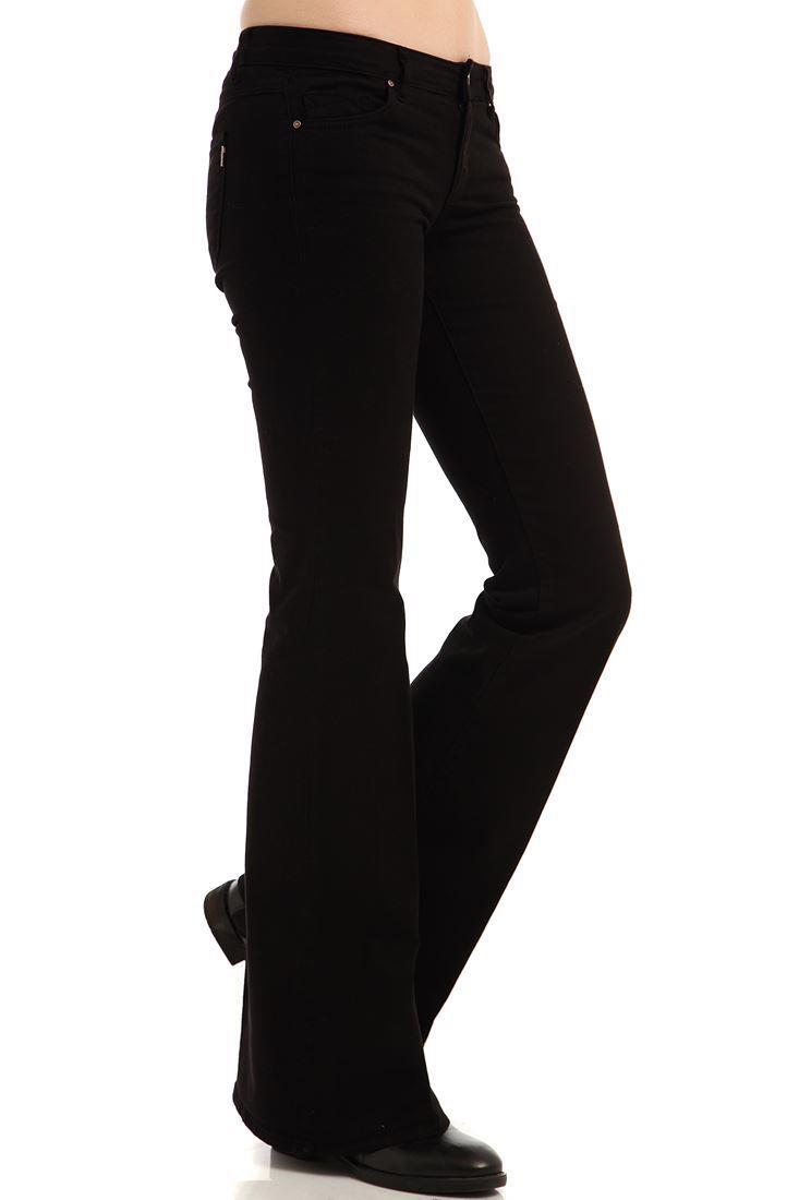 Bayan Siyah İspanyol Paça Pantolon