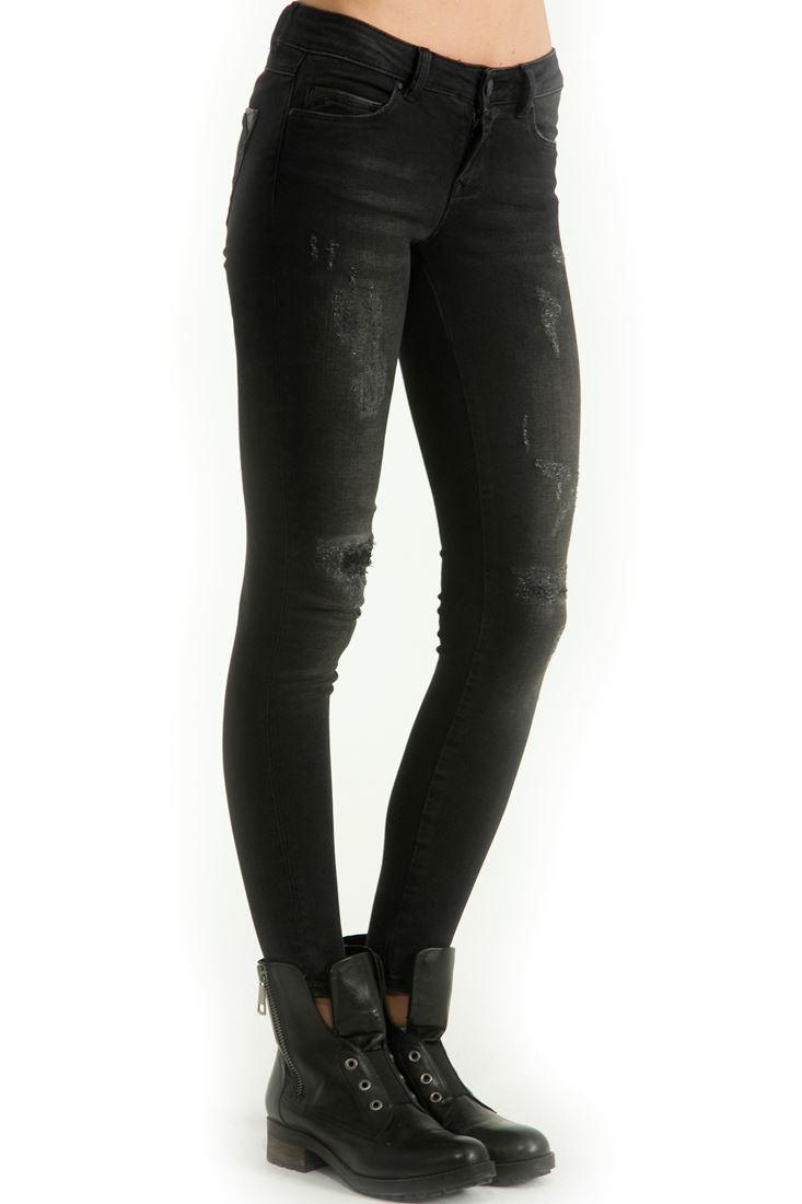 Siyah Dar Kesim Denim Pantolon