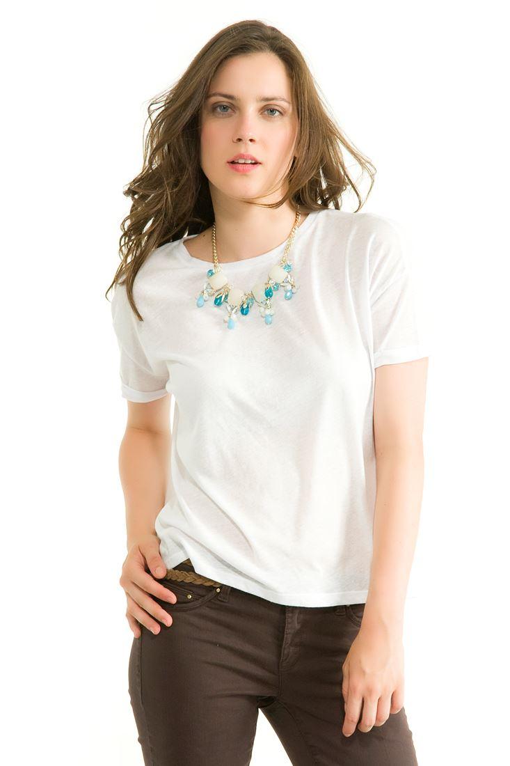 Beyaz Bol Kesim Kısa Tişört