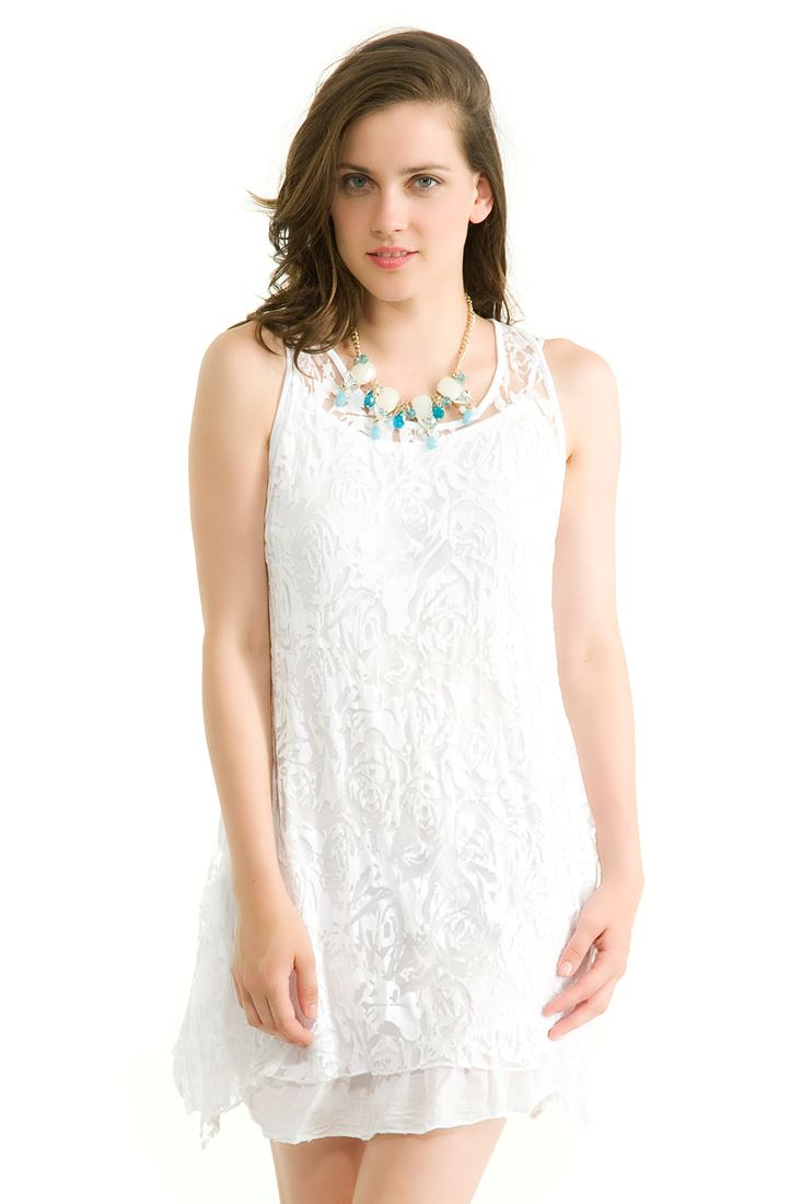 Beyaz Kolsuz Dantel Elbise
