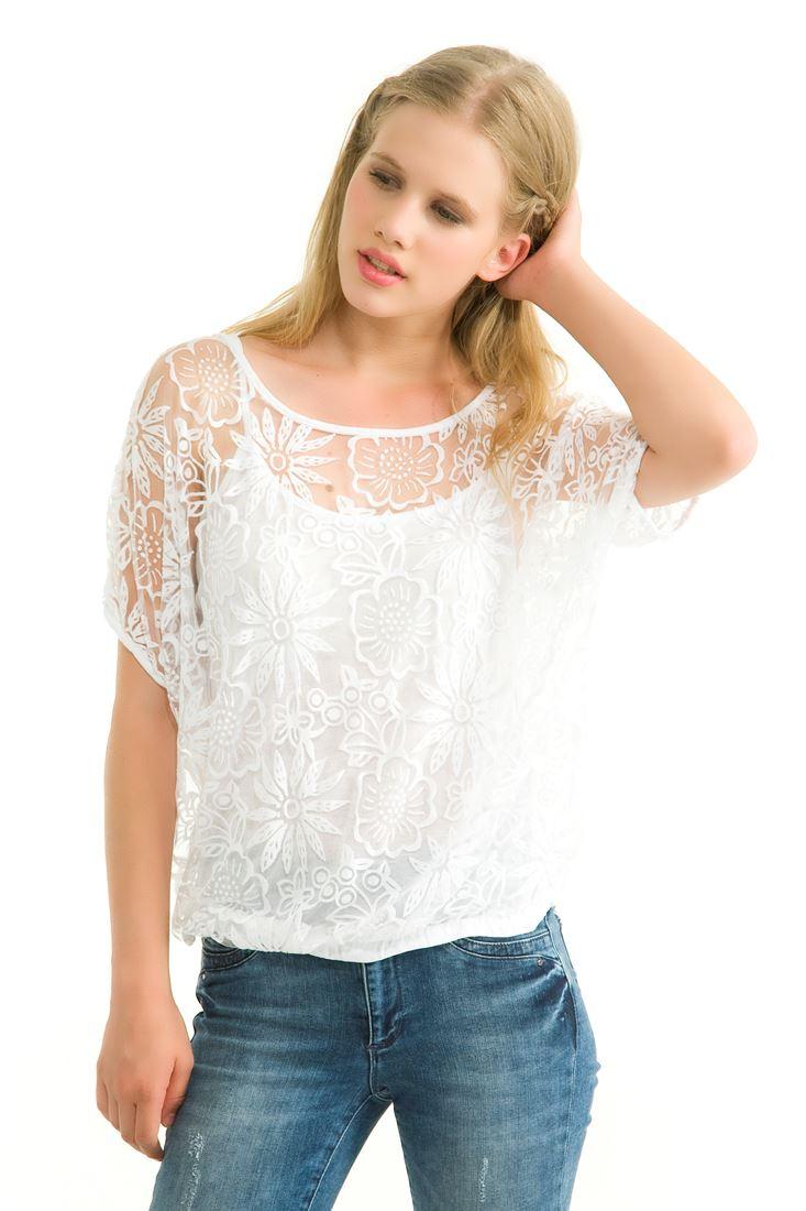 Beyaz Beli Lastikli Dantelli Bluz