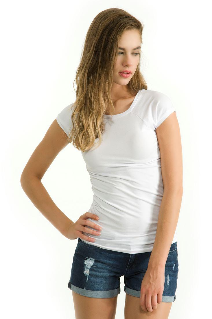 Beyaz Sıfır Yaka Streç Tişört