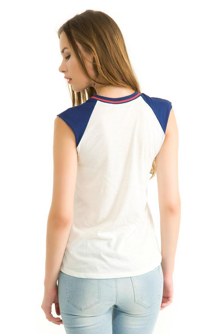 Bayan Çok Renkli Baskılı Kolsuz Tişört