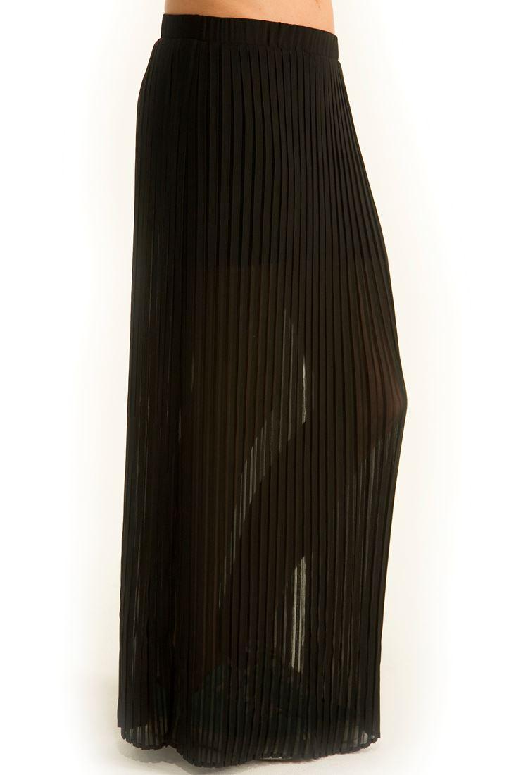 Siyah Piliseli Uzun Şifon Etek