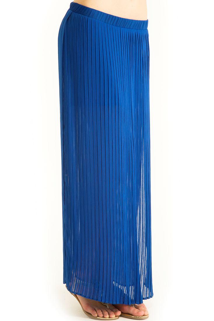 Mavi Piliseli Uzun Şifon Etek