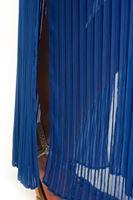 Bayan Mavi Piliseli Uzun Şifon Etek