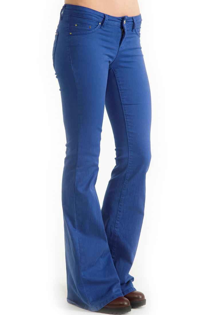 Bayan Mavi Orta Bel İspanyol Paça Pantolon