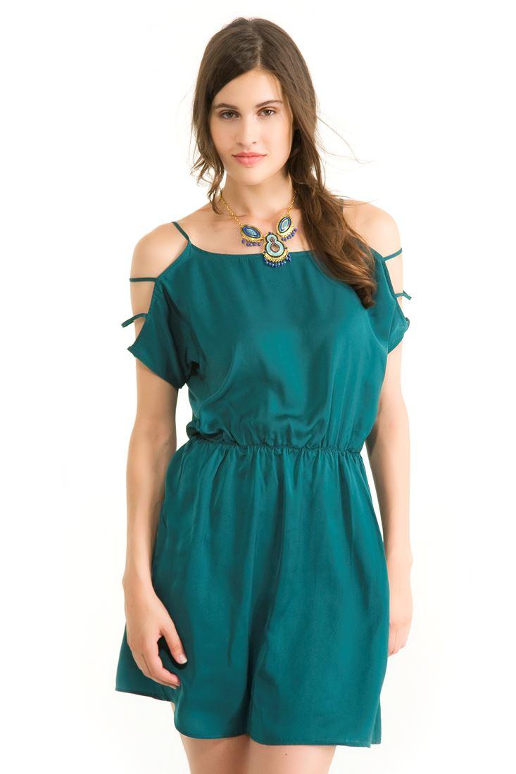 Yeşil Kolları Düşük Elbise