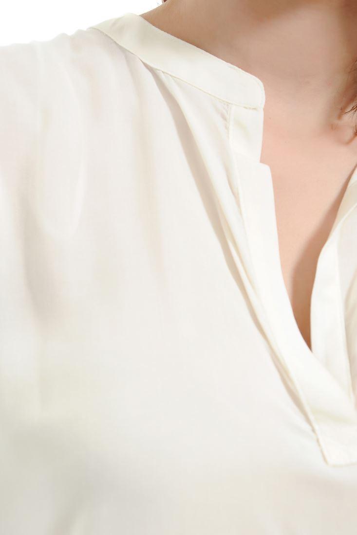 Bayan Krem V Yaka Uzun Bluz