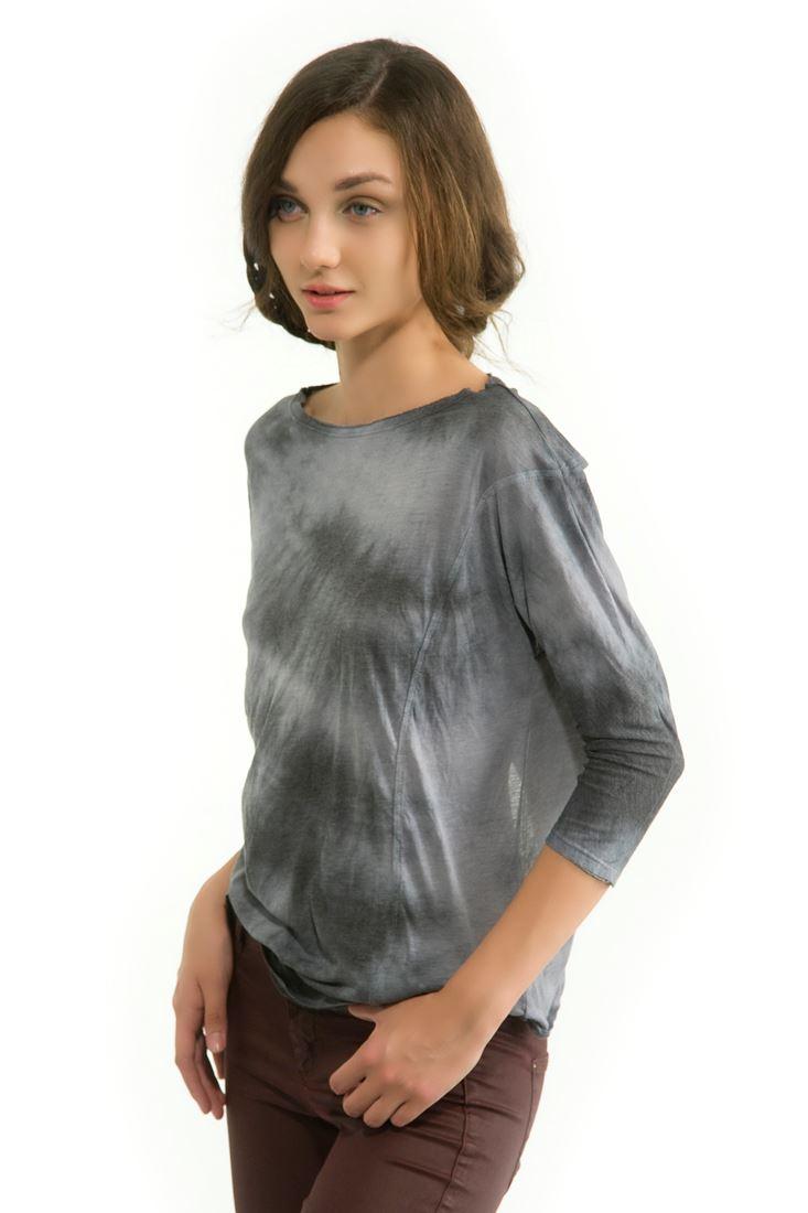 Siyah Sırt Dekolteli Uzun Kollu Tişört