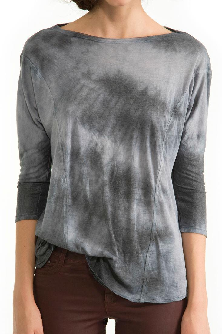 Bayan Siyah Sırt Dekolteli Uzun Kollu Tişört