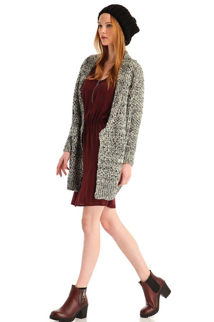 Bayan Bordo Yakası Fermuarlı Cepli Mini Elbise