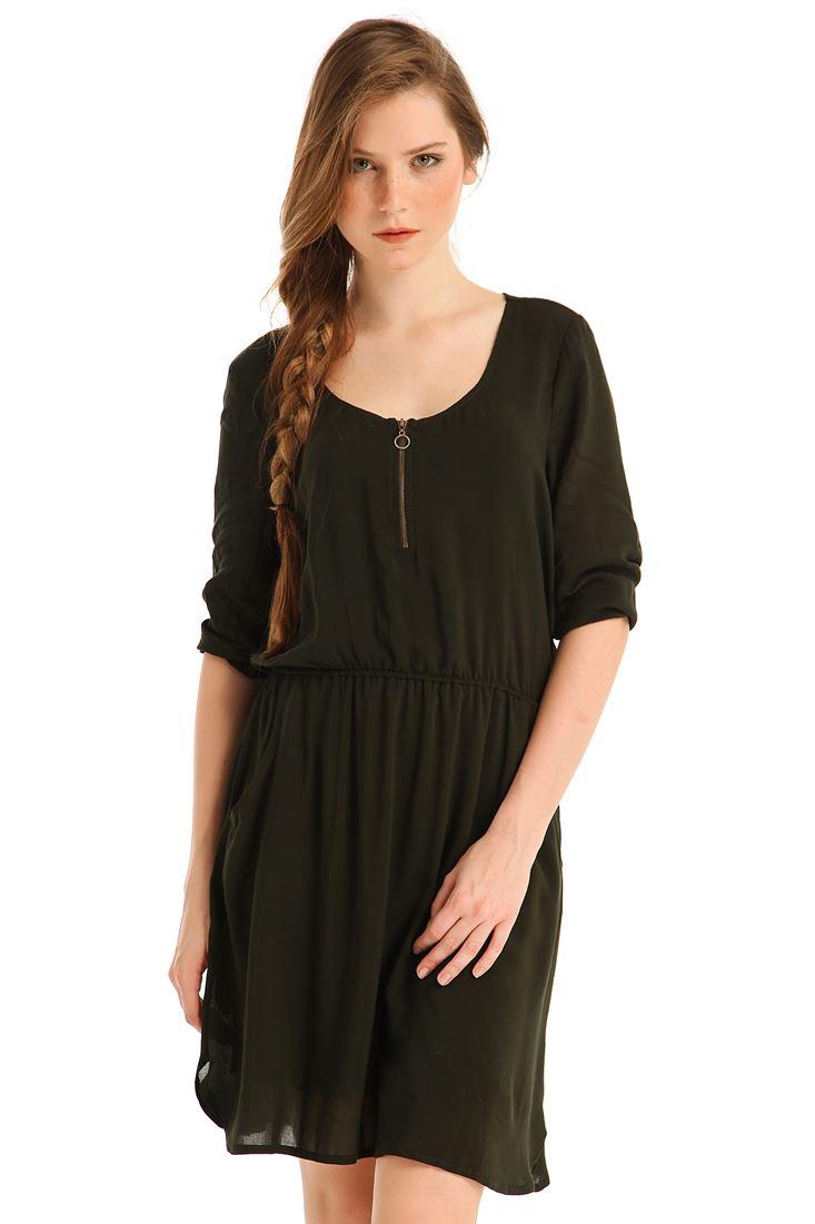 Bayan Yeşil Yakası Fermuarlı Cepli Mini Elbise