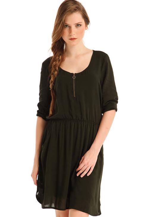 Yeşil Yakası Fermuarlı Cepli Mini Elbise
