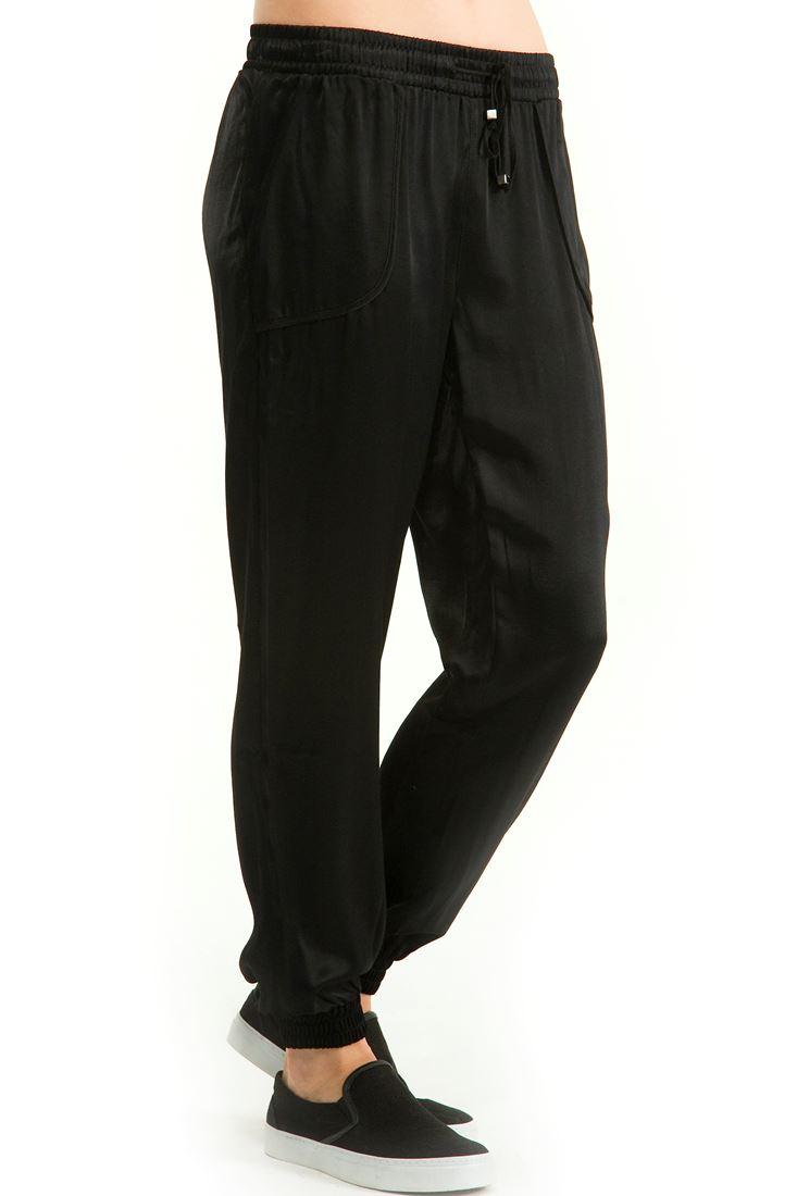 Siyah Beli Lastikli Bol Kesim Pantolon