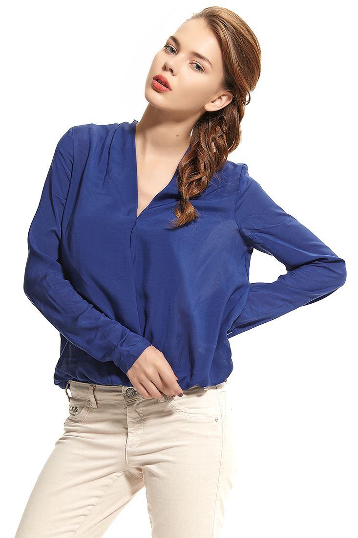 Mavi Dökümlü V Yaka Şık Bluz