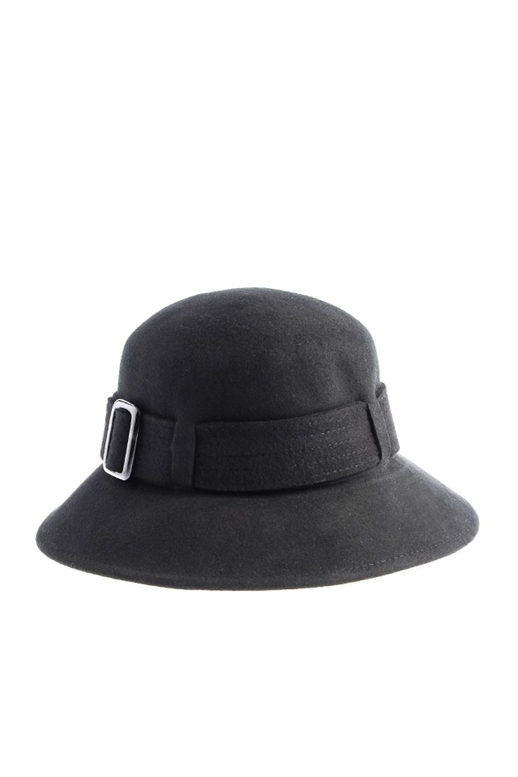 Siyah Toka Detaylı Yün Şapka
