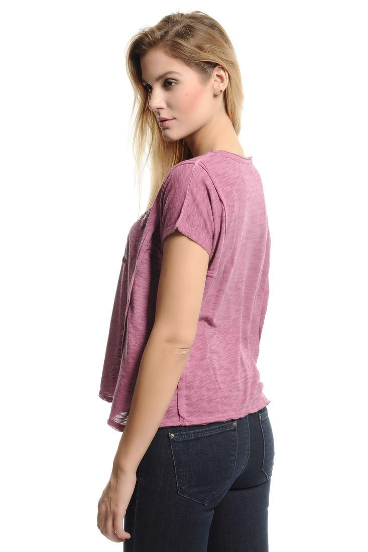 Bayan Pembe Pul İşlemeli Kısa Kollu Tişört