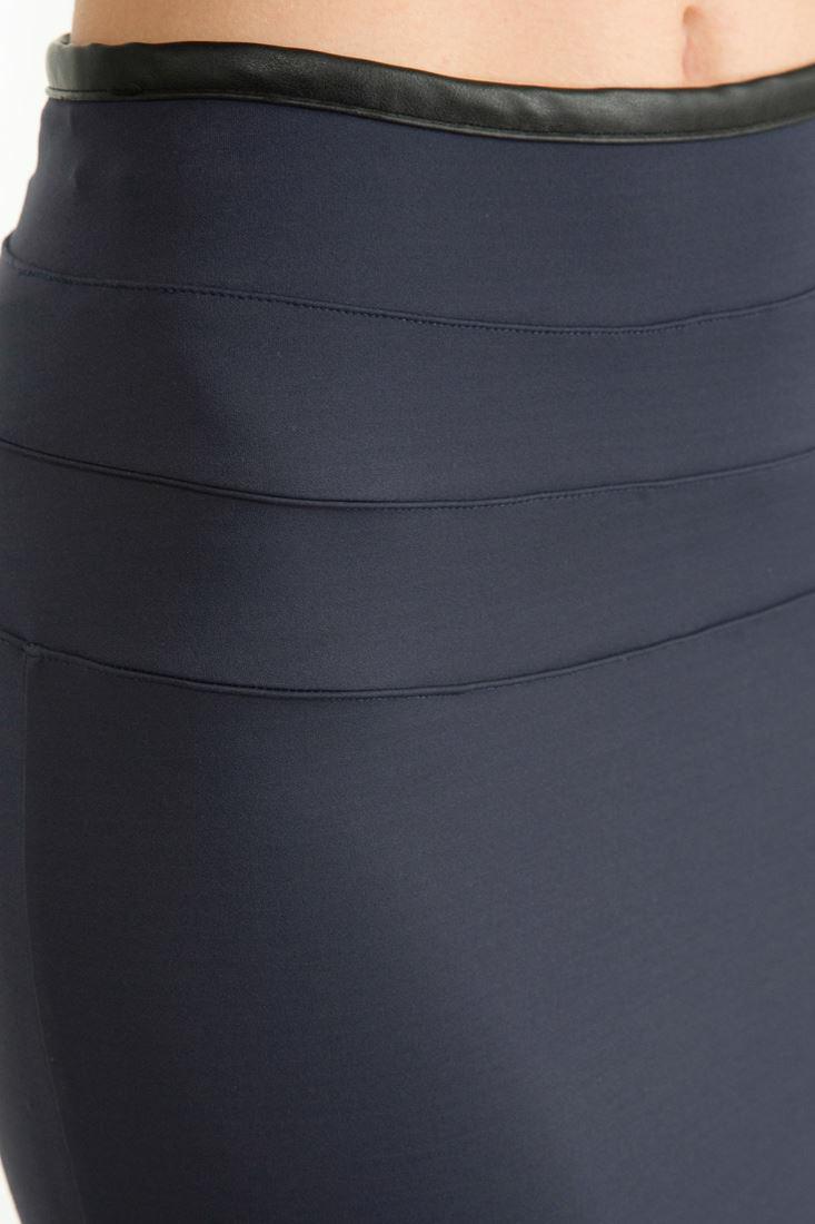 Bayan Mavi Fermuarlı Siyah Kalem Etek
