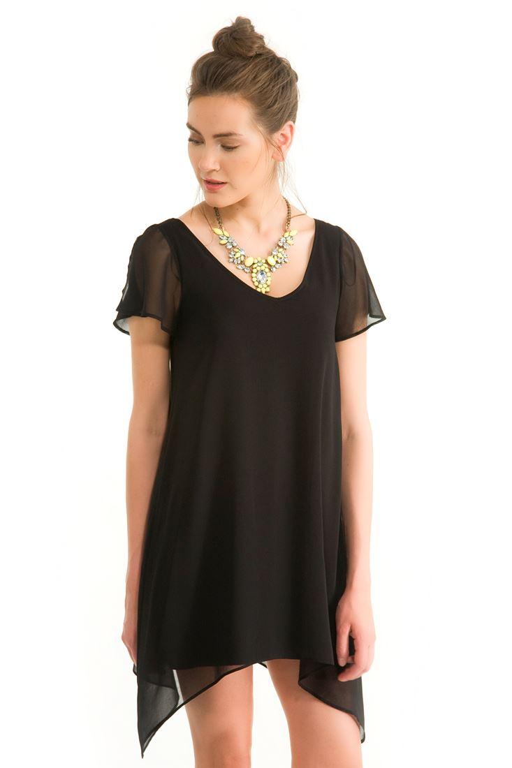 Siyah Sırt Detaylı Kısa Elbise