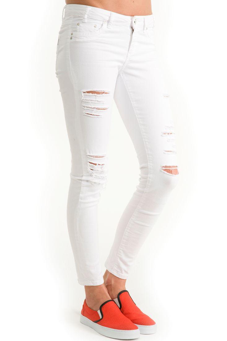 Beyaz Beyaz Skinny Yırtık Pantolon