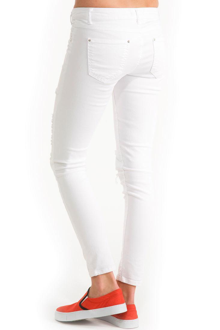Bayan Beyaz Beyaz Skinny Yırtık Pantolon