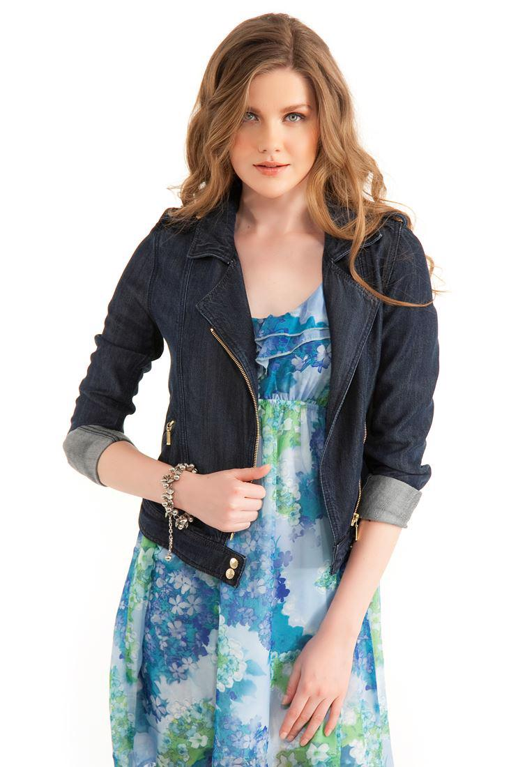 Bayan Mavi Dar Kesim Denim Ceket