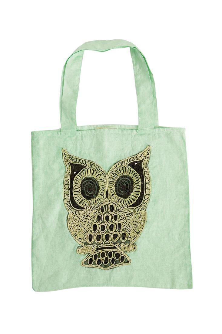 Yeşil Baykuş İşlemeli Keten Çanta