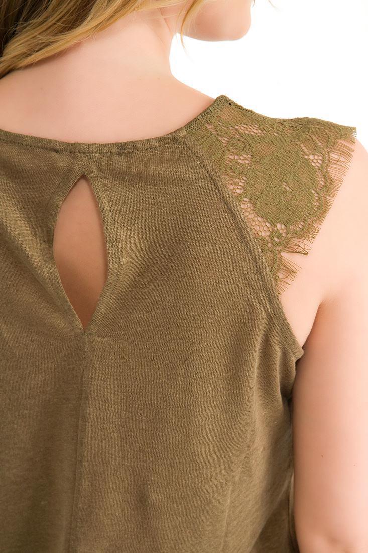 Bayan Yeşil Kolsuz Bluz