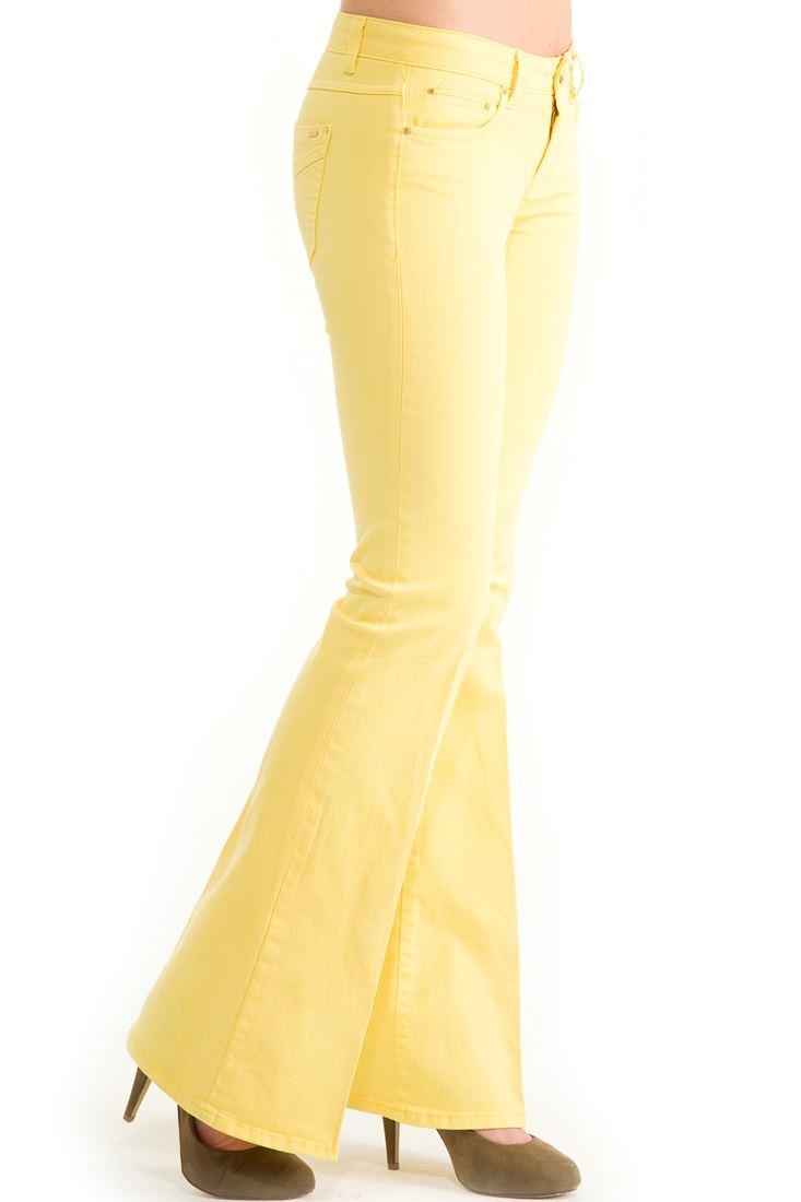 Sarı Geniş Paça Düşük Bel Pantolon