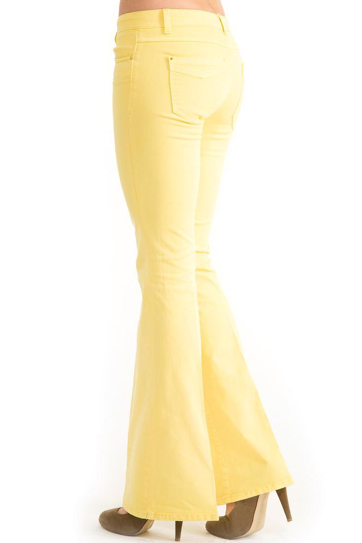 Bayan Sarı Geniş Paça Düşük Bel Pantolon