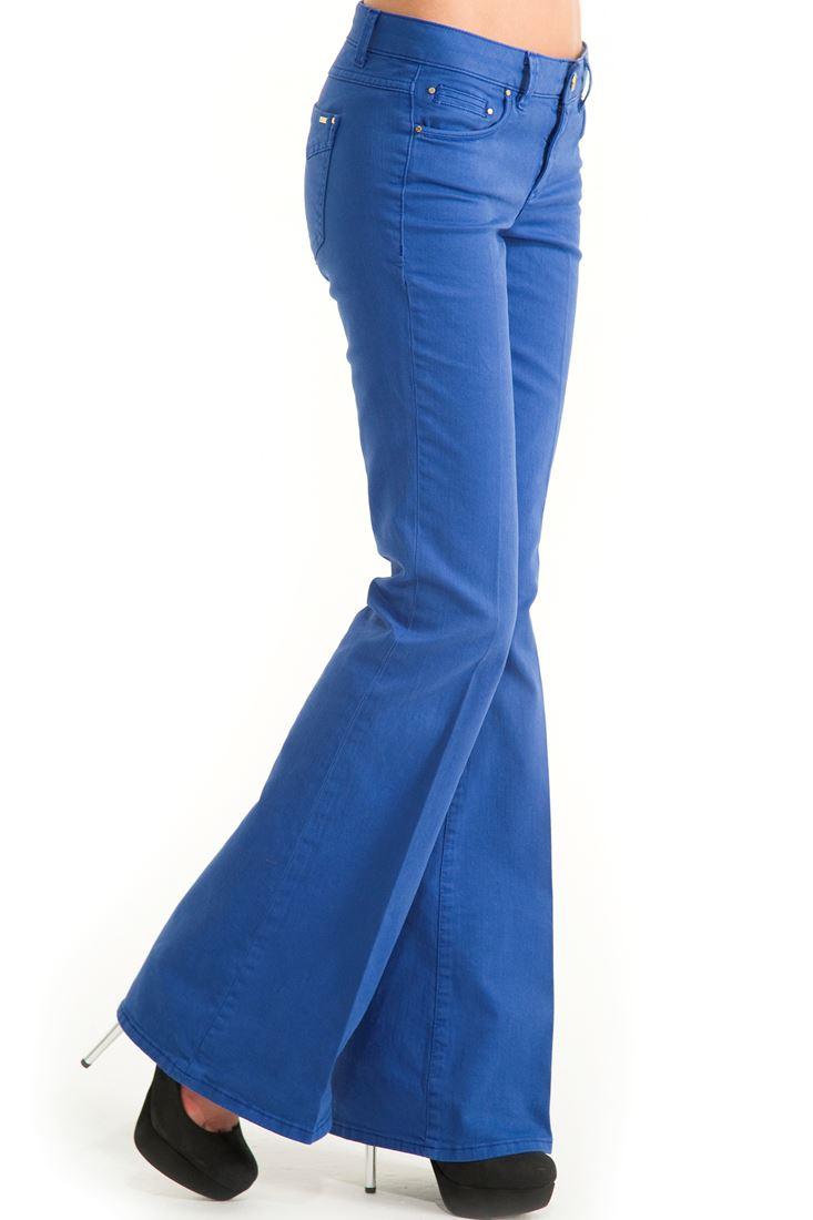 Mavi Geniş Paça Düşük Bel Pantolon