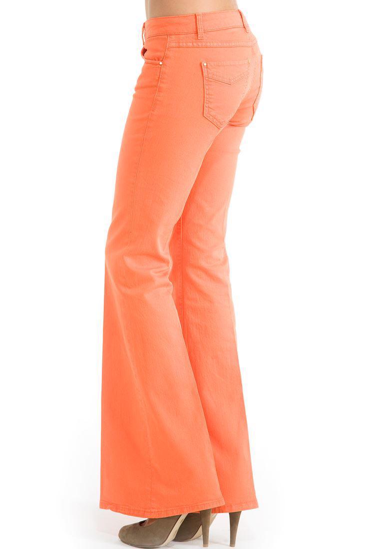 Bayan Turuncu Geniş Paça Düşük Bel Pantolon