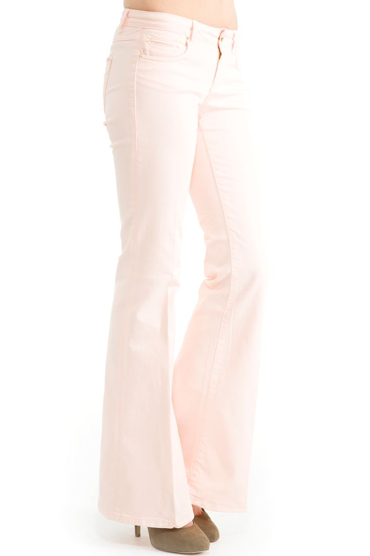 Pembe Geniş Paça Düşük Bel Pantolon