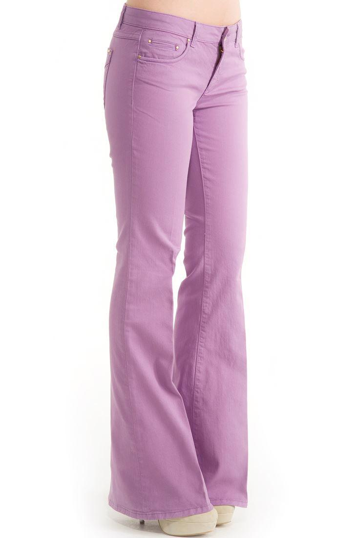 Bayan Mor Geniş Paça Düşük Bel Pantolon