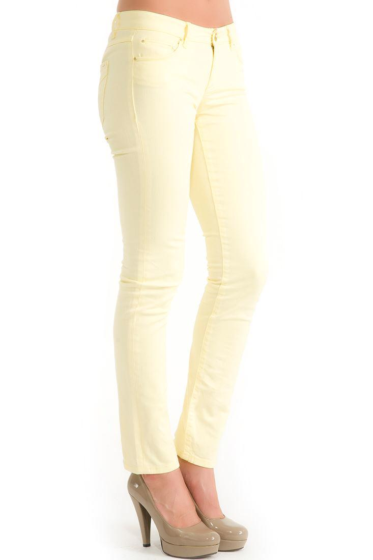 Bayan Sarı Dar Kesim Pantolon