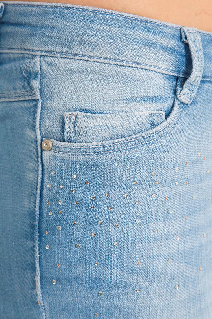 Bayan Mavi Dar Paça Taşlı Denim Pantolon